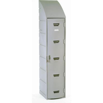 "Remco Plastics Single Tier Plastic Locker, 15""Wx18""Dx73""H, Gray, Assembled"