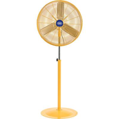 "Global Industrial™ 30"" Deluxe Industrial Pedestal Fan, Oscillating, Safety YLW, 10000 CFM"
