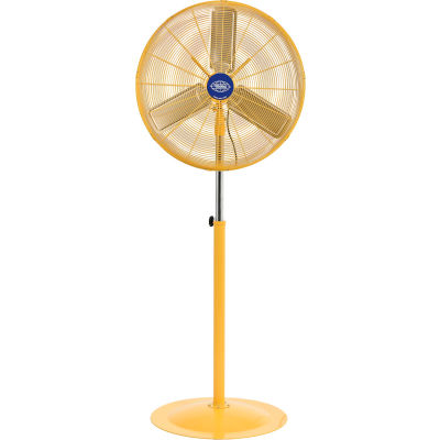 """Global Industrial™ 30"""" Deluxe Industrial Pedestal Fan - Oscillating- Safety Yellow - 10000 CFM"""