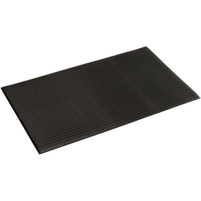 """Ribbed Surface Mat 3/8"""" Thick 3'W Cut Length 1Ft Up To 60Ft, Black"""