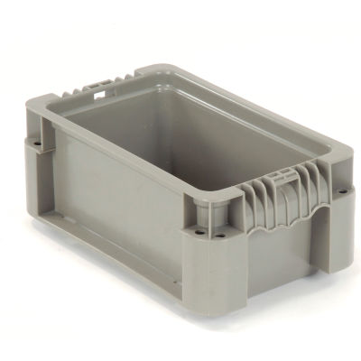 """Global Industrial™ Stackable Straight Wall Container, Solid, 12""""Lx7-3/8""""Wx5""""H, Gray"""