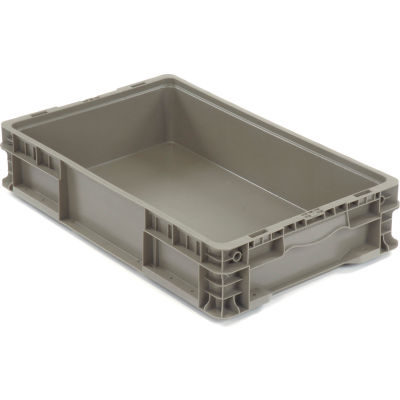 """Global Industrial™ Stackable Straight Wall Container, Solid, 24""""Lx15""""Wx5""""H, Gray"""