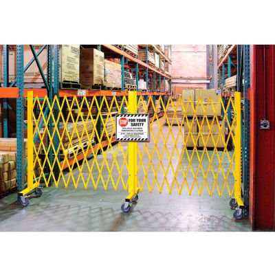 Global Industrial™ Folding Barricade Security Gate With Sign