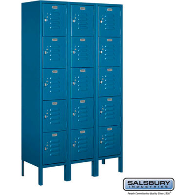 """Five Tier 15 Door Metal Locker, 12""""Wx12""""Dx12""""H, Blue, Unassembled"""