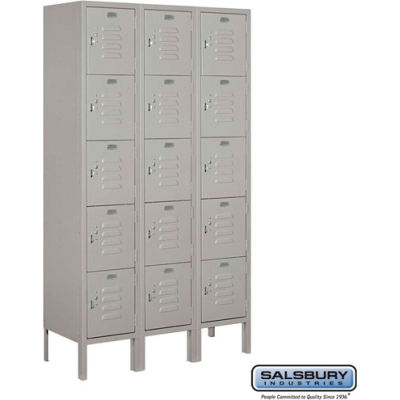 """Five Tier 15 Door Metal Locker, 12""""Wx12""""Dx12""""H, Gray, Unassembled"""