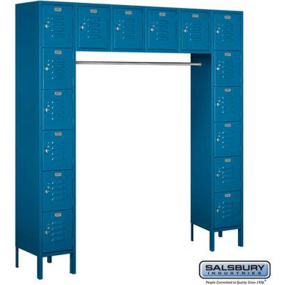 "16 Person Metal Locker, 12""Wx18""Dx12""H, Blue, Unassembled"