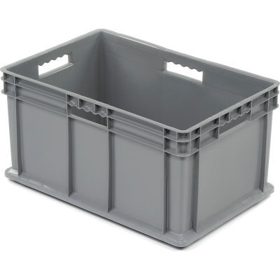 """Akro-Mils Straight Wall Container 37682 Solid Sides & Base 23-3/4""""L x 15-3/4""""W x 12-1/4""""H, Gray - Pkg Qty 3"""