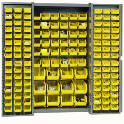 Global Industrial™ Bin Cabinet Deep Door - 144 Yellow Bins, 16-Gauge Assembled Cabinet 38x24x72