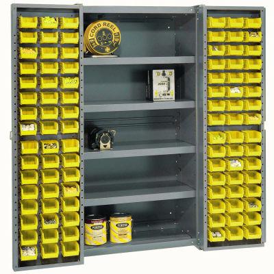 Global Industrial™ Bin Cabinet Deep Door, 96 YL Bins, Shelves, 16 Ga Assembled Cabinet 38x24x72