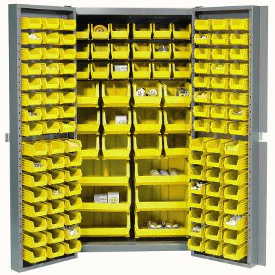 """Global Industrial™, 16-Gauge Deep Door Bin Cabinet, 132 Yellow Bins, 38"""" x 24"""" x 72"""", Assembled"""