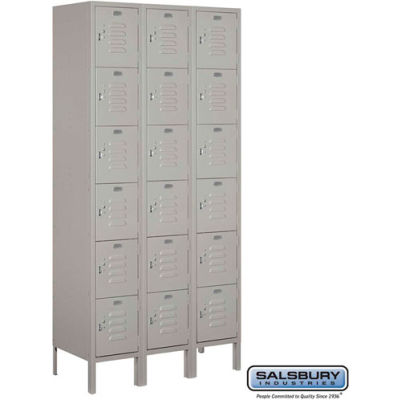 "Six Tier 18 Door Metal Locker, 12""Wx15""Dx12""H, Gray, Assembled"