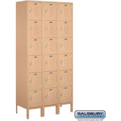 "Six Tier 18 Door Metal Locker, 12""Wx15""Dx12""H, Tan, Assembled"