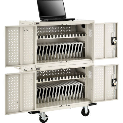 Global Industrial™ 32-Device Charging Cart for Chromebooks and Tablets, Putty, Unassembled
