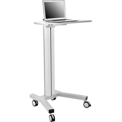 Global Industrial™ Mobile Height Adjustable Laptop Workstation with 4-Outlet Power Strip