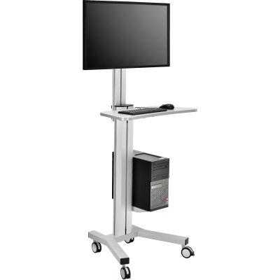Global Industrial™ Mobile Height Adjustable Desktop Computer Workstation with 4-Outlet Power Strip