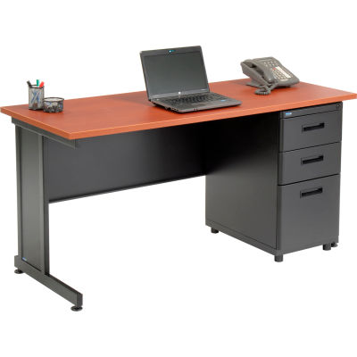 "Interion® Office Desk with 3 Drawers - 60"" x 24"" - Cherry"