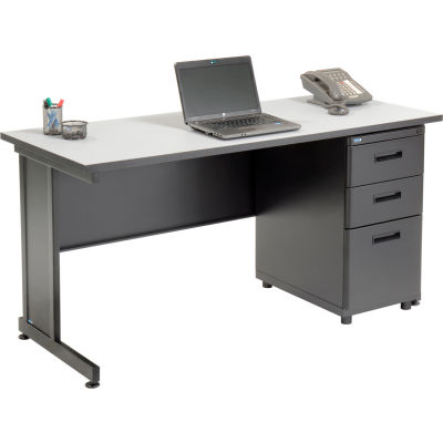 """Interion® Office Desk with 3 Drawers - 60"""" x 24"""" - Gray"""