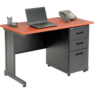 "Interion® Office Desk with 3 Drawers - 48"" x 24"" - Cherry"