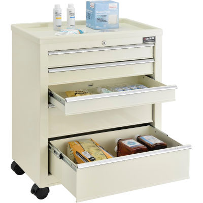 "Global Industrial™ 5-Drawer Medical Bedside Cart, Key Lock, Beige, 24-1/2""L x 13-1/4""W x 29""H"