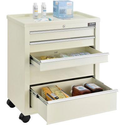 "Global Industrial™ 5-Drawer Medical Bedside Cart W/ Key Lock, 24-1/2""L x 13-1/4""W x 29""H, Beige"