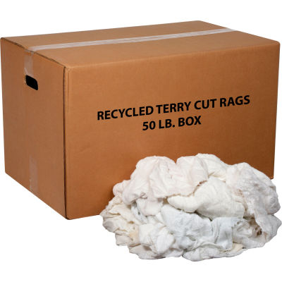 Global Industrial™ Premium Recycled White Cotton Terry Cut Rags, 50 Lb. Box