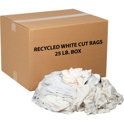 Global Industrial™ Recycled White Cut Rags, 25 Lb. Box