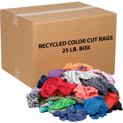 Global Industrial™ Recycled Mixed Color Cut Rags, 25 Lb. Box