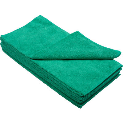 "Global Industrial™ 300 GSM Microfiber Cleaning Cloths, 16"" x 16"", Green, 12 Cloths/Pack"