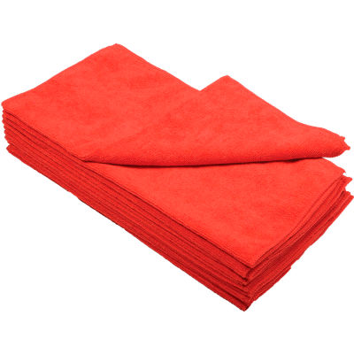"Global Industrial™ 300 GSM Microfiber Cleaning Cloths, 16"" x 16"", Red, 12 Cloths/Pack"
