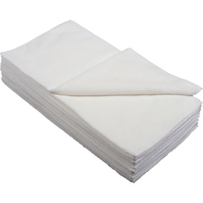 "Global Industrial™ 300 GSM Microfiber Polishing Cloths, 16"" x 16"", White, 12 Cloths/Pack"