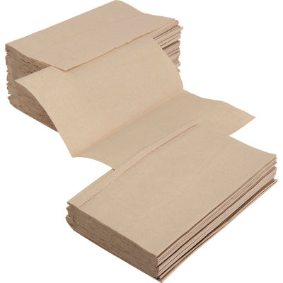 Global Industrial™ Singlefold Paper Towels, Natural - 334 Sheets/Pack, 12 Packs/Case