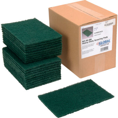 "Global Industrial™ Heavy Duty Scouring Pads, Green, 6"" x 9"" - Case of 15 Pads"