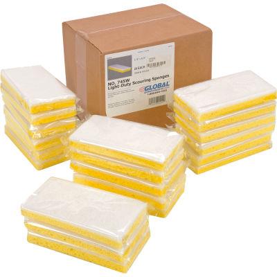 "Global Industrial™ Light Duty Scrub Sponge, Yellow/White, 3.25"" x 6.25"" - Case of 20 Sponges"