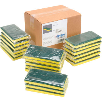 "Global Industrial™ Heavy Duty Scrub Sponge, Yellow/Green, 3.25"" x 6.25"" - Case of 20 Sponges"