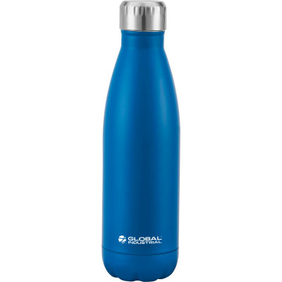 Global Industrial™ Double Wall Stainless Water Bottle, Blue, 17 Oz.