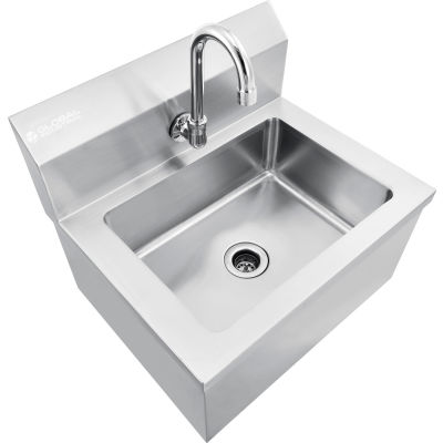"Global Industrial™ Stainless Steel Hands Free Wall Mount Sink W/Faucet, 14""x10""x5"" Deep"