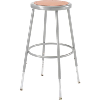 "Interion® Steel Shop Stool with Hardboard Seat – Adjustable Height 25""-33"" - Gray - Pack of 2"