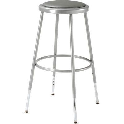 "Interion® Steel Shop Stool with Padded Seat - Adjustable Height 25"" - 33"" - Gray - Pack of 2"