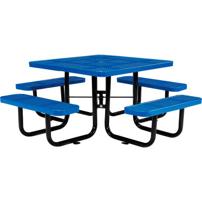 """Global Industrial™ 46"""" Square Outdoor Steel Picnic Table, Perforated Metal, Blue"""