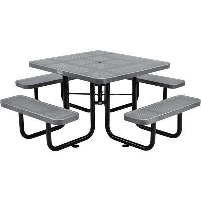 "Global Industrial™ 46"" Square Outdoor Steel Picnic Table, Perforated Metal, Gray"