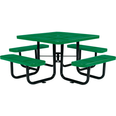 """Global Industrial™ 46"""" Square Outdoor Steel Picnic Table, Perforated Metal, Green"""