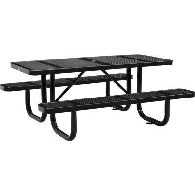 Global Industrial™ 6 ft. Rectangular Outdoor Steel Picnic Table, Perforated Metal, Black