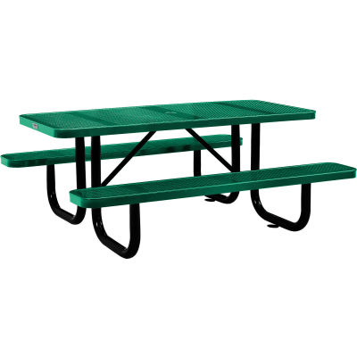 Global Industrial™ 6 ft. Rectangular Outdoor Steel Picnic Table, Perforated Metal, Green
