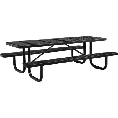 Global Industrial™ 8 ft. Rectangular Outdoor Steel Picnic Table, Perforated Metal, Black