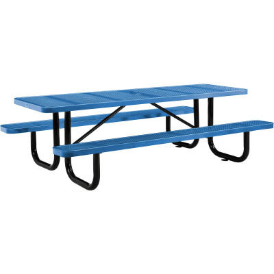 Global Industrial™ 8 ft. Rectangular Outdoor Steel Picnic Table, Perforated Metal, Blue