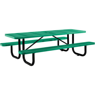 Global Industrial™ 8 ft. Rectangular Outdoor Steel Picnic Table, Perforated Metal, Green