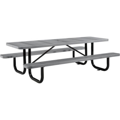 Global Industrial™ 8 ft. Rectangular Outdoor Steel Picnic Table, Perforated Metal, Gray