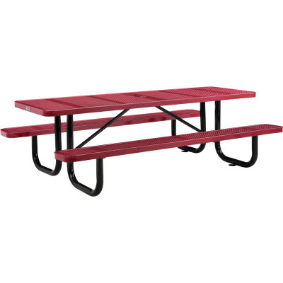 Global Industrial™ 8 ft. Rectangular Outdoor Steel Picnic Table, Perforated Metal, Red