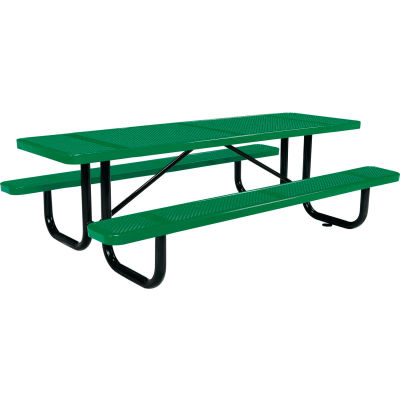 8 ft. Rectangular Outdoor Steel Picnic Table - Perforated Metal - Green