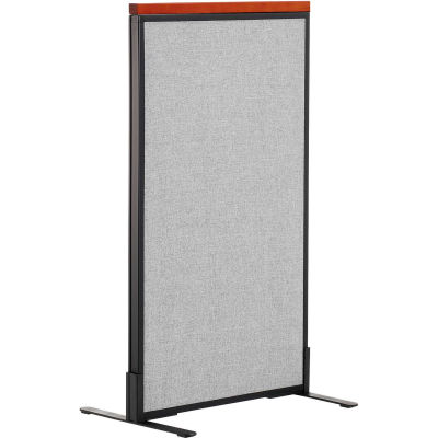 "Interion® Deluxe Freestanding Office Partition Panel, 24-1/4""W x 43-1/2""H, Gray"